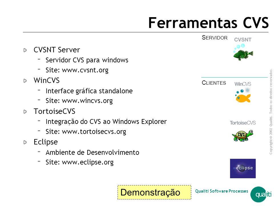 Copyright © 2002 Qualiti. Todos os direitos reservados. Qualiti Software Processes Vantagens Concurrent Versions System (CVS)  padrão de facto  Proj