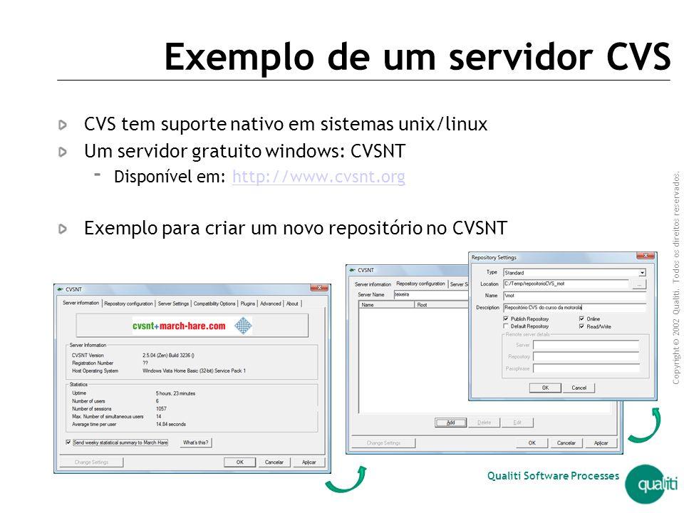 Copyright © 2002 Qualiti. Todos os direitos reservados. Qualiti Software Processes Ferramentas CVS CVSNT Server  Servidor CVS para windows  Site: ww