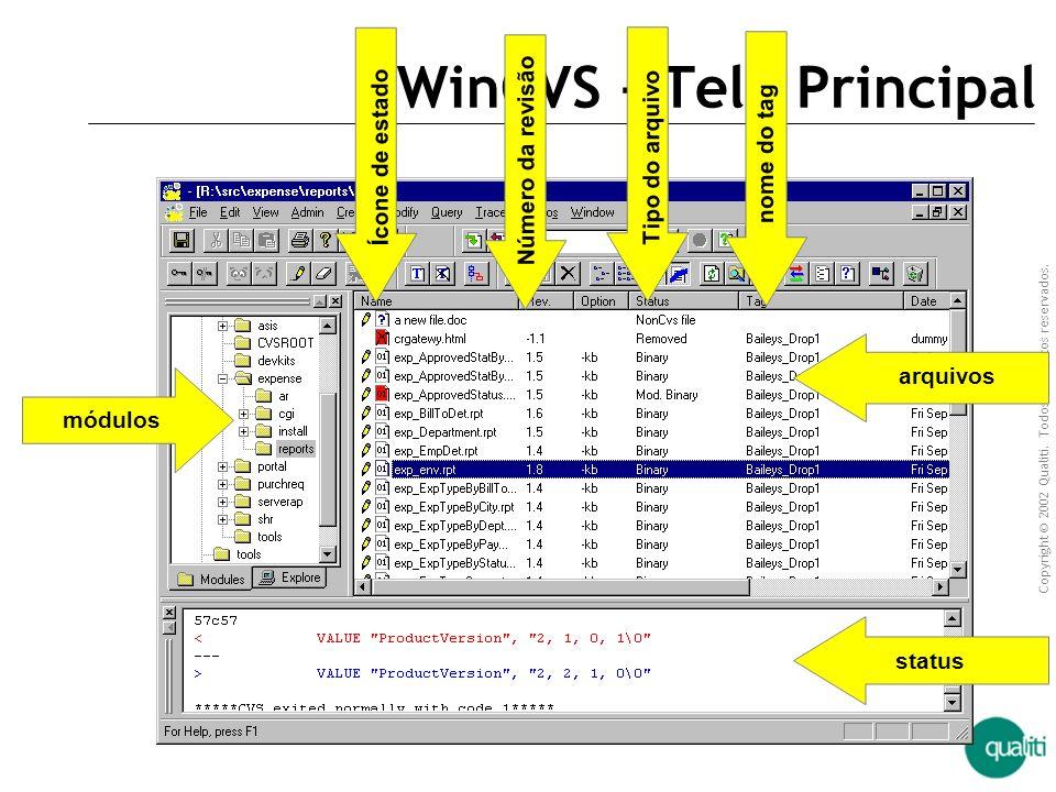 Copyright © 2002 Qualiti. Todos os direitos reservados. Qualiti Software Processes Exemplo de um servidor CVS CVS tem suporte nativo em sistemas unix/