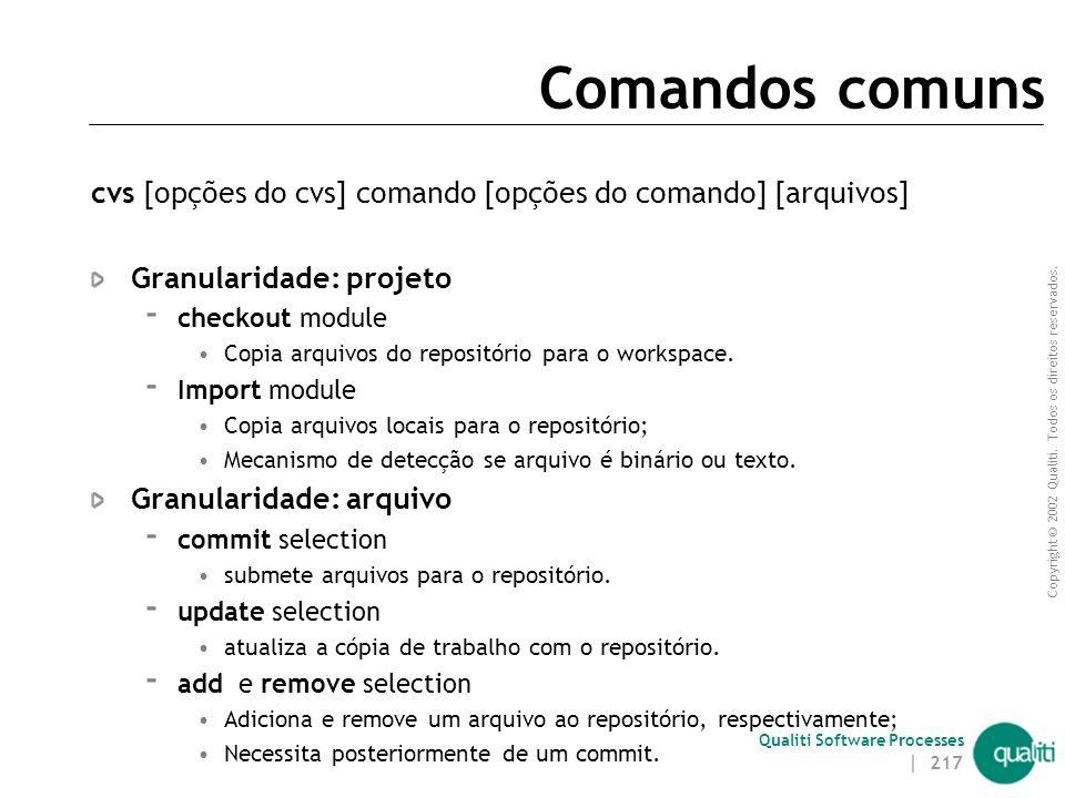 Copyright © 2002 Qualiti. Todos os direitos reservados. Qualiti Software Processes Usando WinCVS Configurações Iniciais  Admin > Preferences... CVSRO
