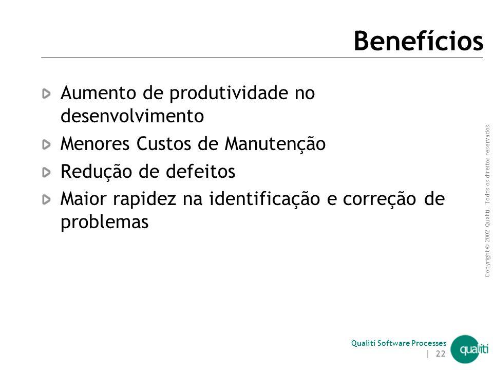 Copyright © 2002 Qualiti. Todos os direitos reservados. Qualiti Software Processes | 21 Objetivos de GC Definir o ambiente de desenvolvimento Política