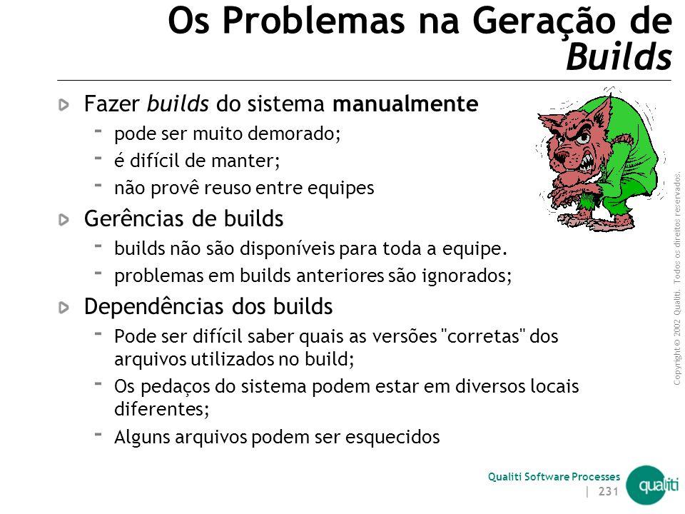 Copyright © 2002 Qualiti. Todos os direitos reservados. Qualiti Software Processes Builds | 230 construção complexa
