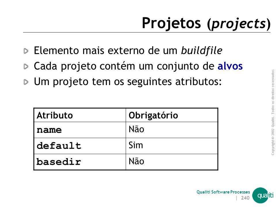 Copyright © 2002 Qualiti. Todos os direitos reservados. Qualiti Software Processes | 239 Estrutura de um buildfile O buildfile é composto de um projet