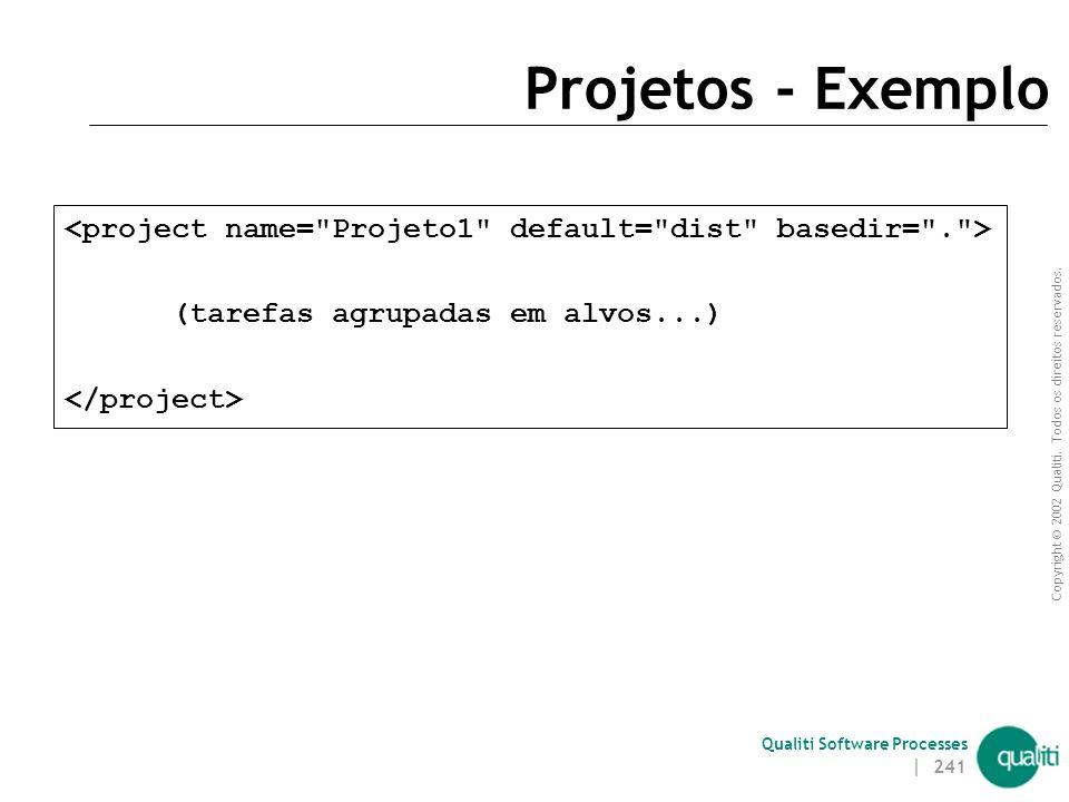Copyright © 2002 Qualiti. Todos os direitos reservados. Qualiti Software Processes | 240 Projetos (projects) Elemento mais externo de um buildfile Cad