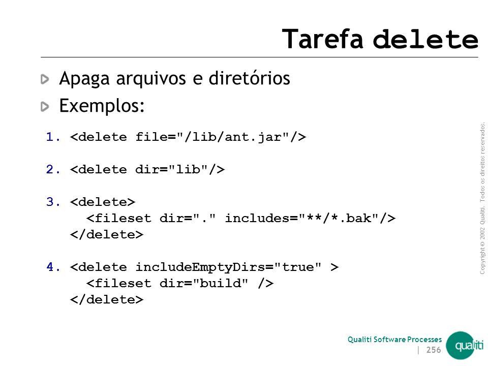 Copyright © 2002 Qualiti. Todos os direitos reservados. Qualiti Software Processes | 255 Tarefa copy (exemplos) 1. 2. 3. 4.