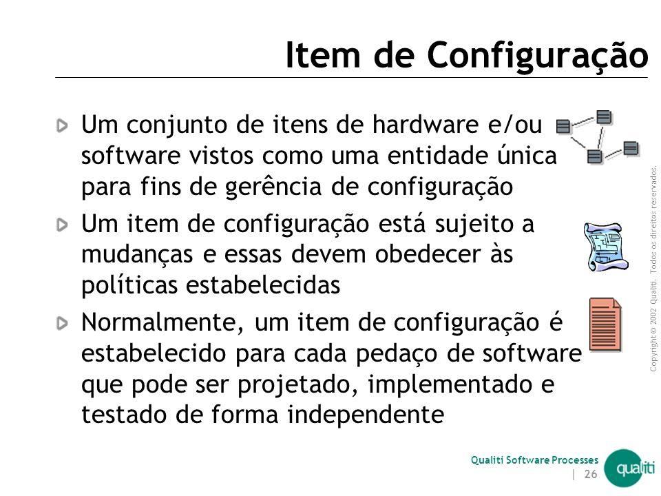 Copyright © 2002 Qualiti. Todos os direitos reservados. Qualiti Software Processes | 25 Workspace - Todos os artefatos necessários para a execução de