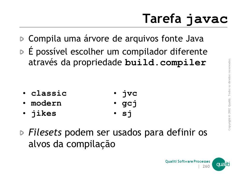Copyright © 2002 Qualiti. Todos os direitos reservados. Qualiti Software Processes | 259 Tarefas mkdir e mail mkdir - Cria uma árvore de diretórios ma