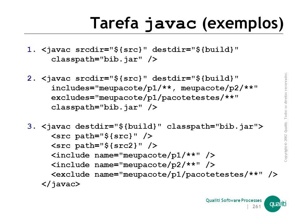 Copyright © 2002 Qualiti. Todos os direitos reservados. Qualiti Software Processes | 260 Tarefa javac Compila uma árvore de arquivos fonte Java É poss