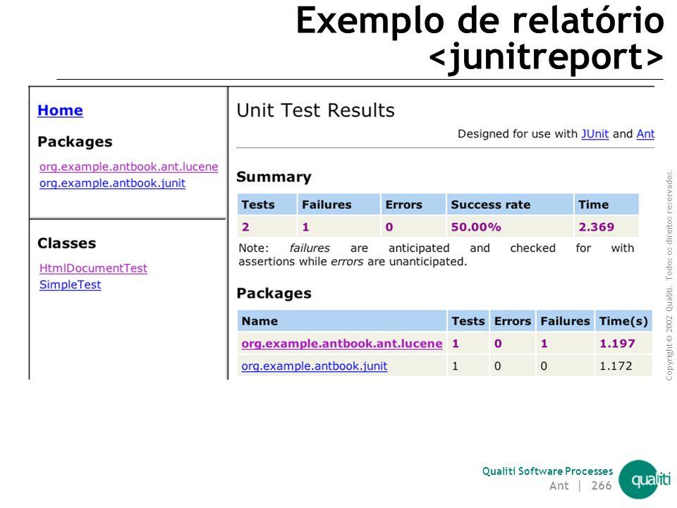 Copyright © 2002 Qualiti. Todos os direitos reservados. Qualiti Software Processes Tarefa Permite a geração de relatórios HTML de testes JUnit realiza