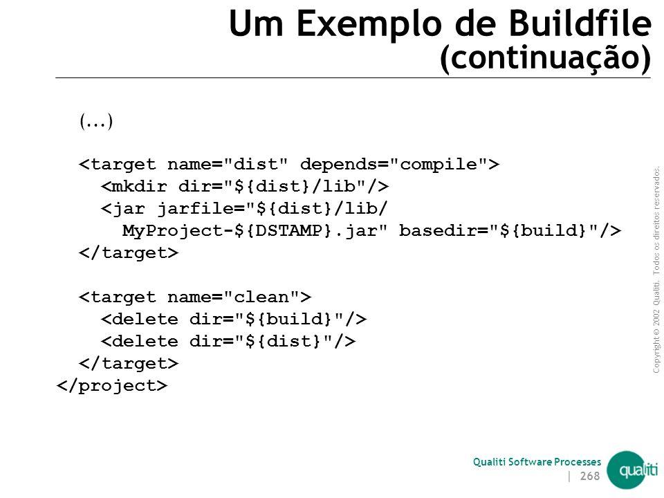 Copyright © 2002 Qualiti. Todos os direitos reservados. Qualiti Software Processes | 267 Um Exemplo de Buildfile <project name=