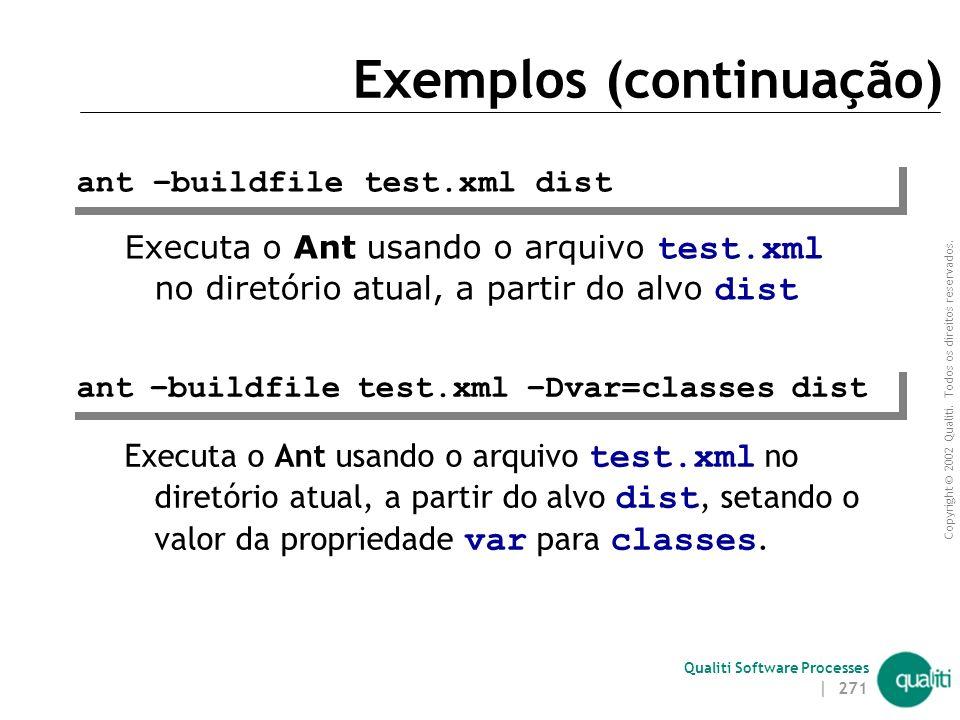 Copyright © 2002 Qualiti. Todos os direitos reservados. Qualiti Software Processes | 270 Exemplos Executa o Ant usando o buildfile build.xml no diretó