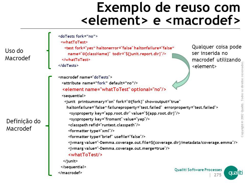 Copyright © 2002 Qualiti. Todos os direitos reservados. Qualiti Software Processes Exemplo de reuso com <javac srcdir=