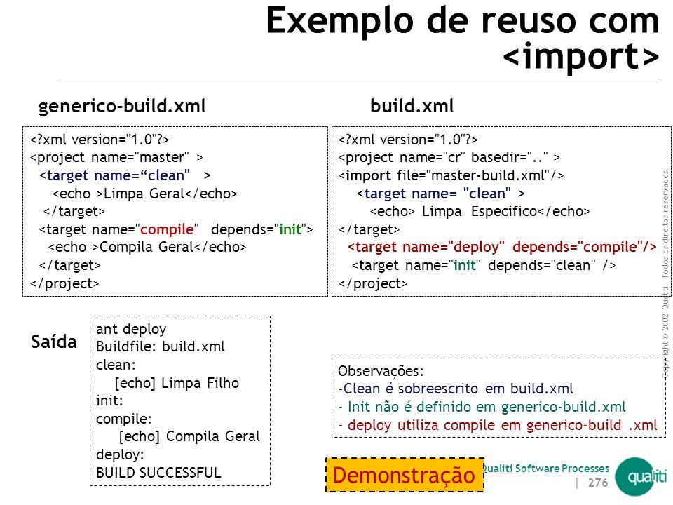 Copyright © 2002 Qualiti. Todos os direitos reservados. Qualiti Software Processes Exemplo de reuso com e <test fork=