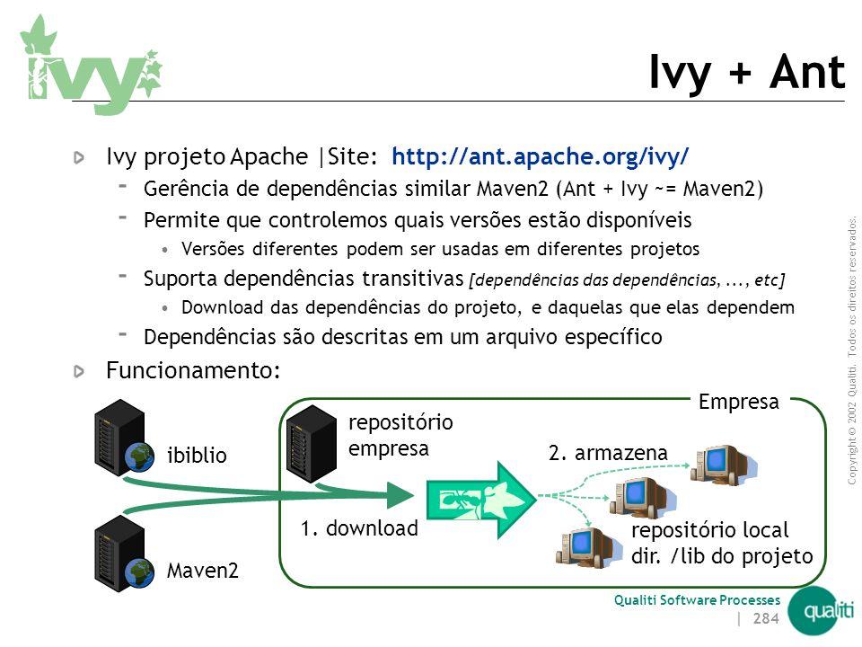 Copyright © 2002 Qualiti. Todos os direitos reservados. Qualiti Software Processes Por que um Gerenciador de Dependências? 1. Sistemas dependem cada v