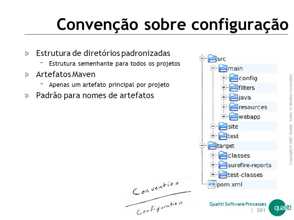 Copyright © 2002 Qualiti. Todos os direitos reservados. Qualiti Software Processes Princípios Convenção sobre configuração (convention over configurat