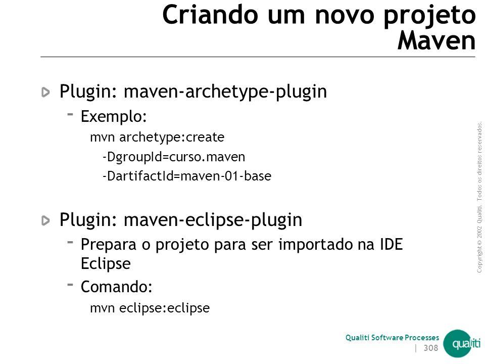 Copyright © 2002 Qualiti. Todos os direitos reservados. Qualiti Software Processes Instalando o Maven 2 Download Maven 2.0.9 ou superior  http://mave