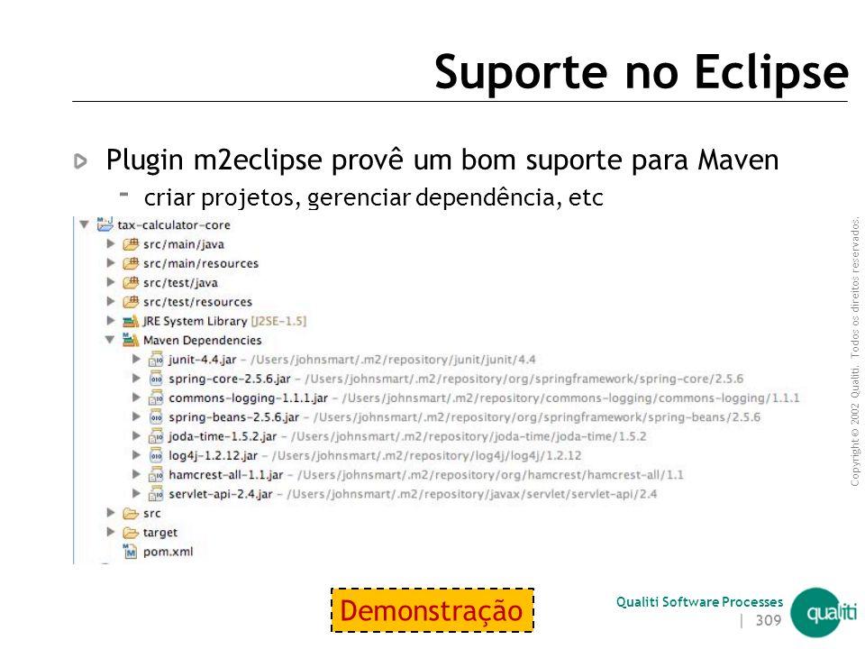 Copyright © 2002 Qualiti. Todos os direitos reservados. Qualiti Software Processes Criando um novo projeto Maven Plugin: maven-archetype-plugin  Exem