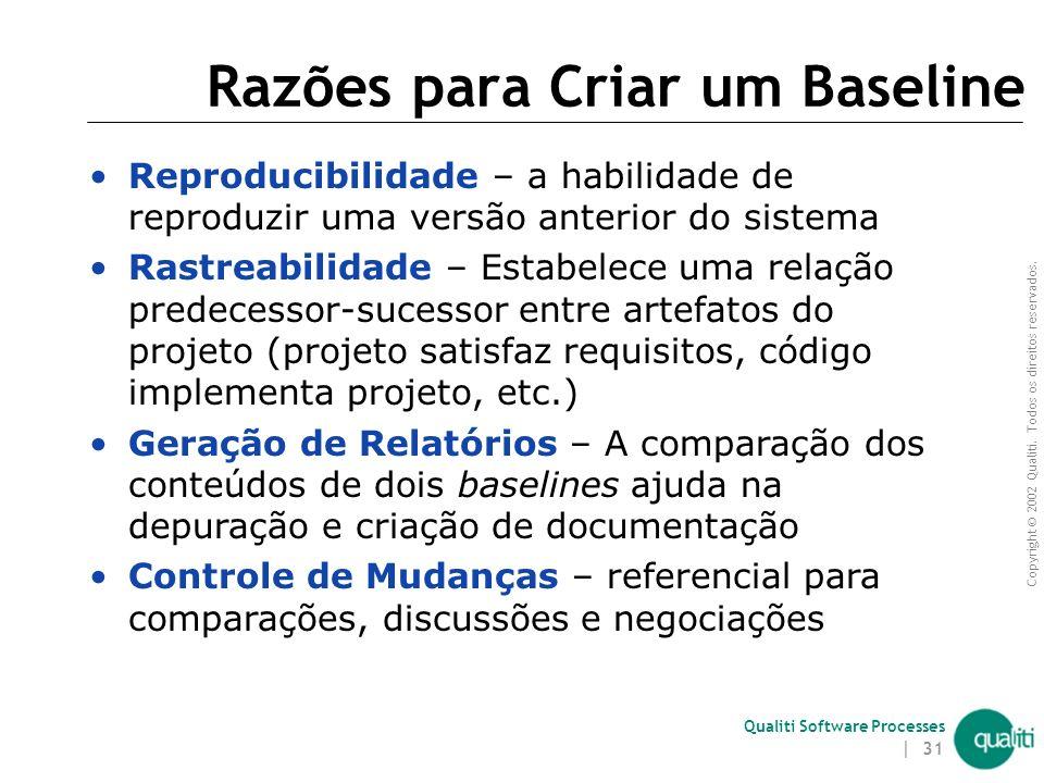 Copyright © 2002 Qualiti. Todos os direitos reservados. Qualiti Software Processes | 30 Baseline e Codelines item tempo fluxo codeline baseline