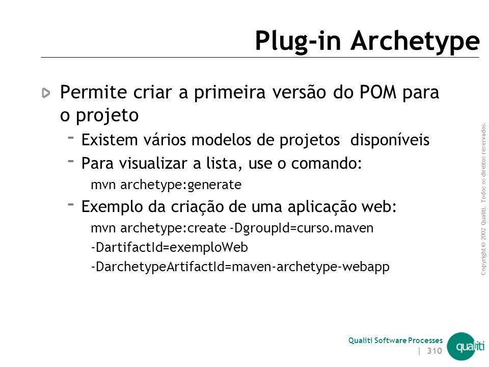 Copyright © 2002 Qualiti. Todos os direitos reservados. Qualiti Software Processes Suporte no Eclipse Plugin m2eclipse provê um bom suporte para Maven