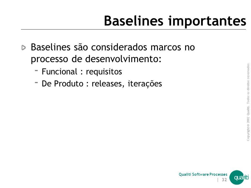Copyright © 2002 Qualiti. Todos os direitos reservados. Qualiti Software Processes | 31 Razões para Criar um Baseline Reproducibilidade – a habilidade