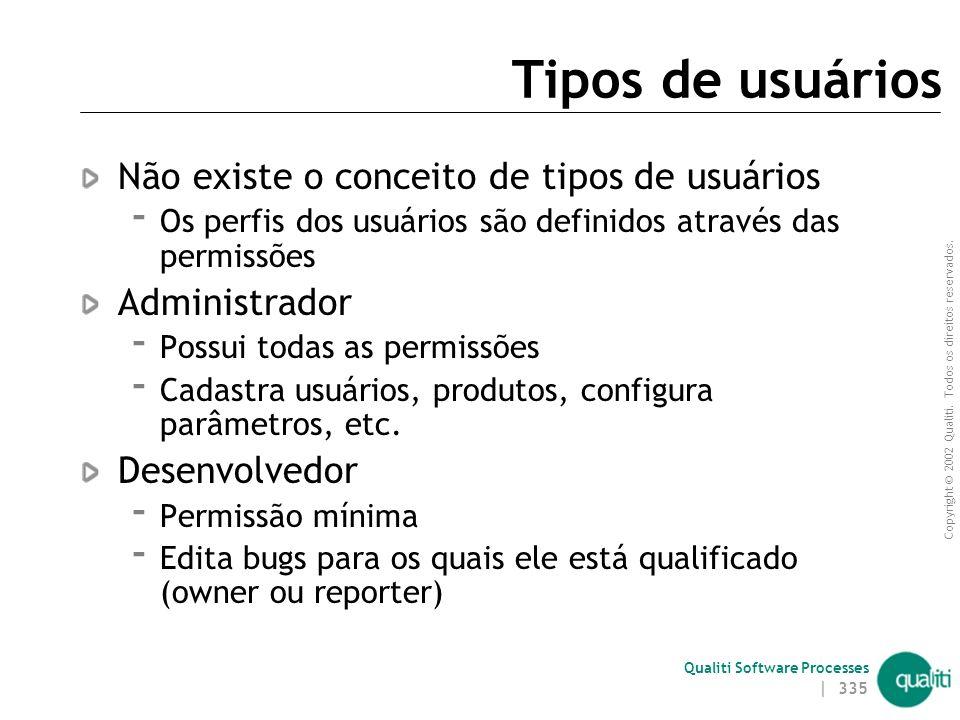 Copyright © 2002 Qualiti. Todos os direitos reservados. Qualiti Software Processes | 334 Ciclo de Vida de um Bug