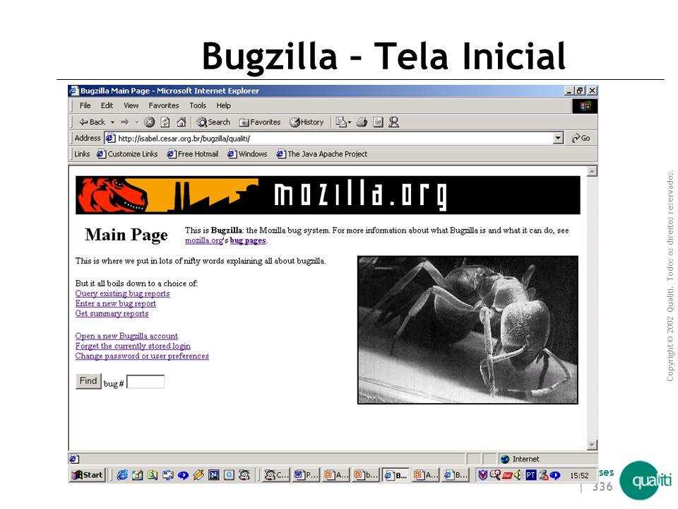 Copyright © 2002 Qualiti. Todos os direitos reservados. Qualiti Software Processes | 335 Tipos de usuários Não existe o conceito de tipos de usuários