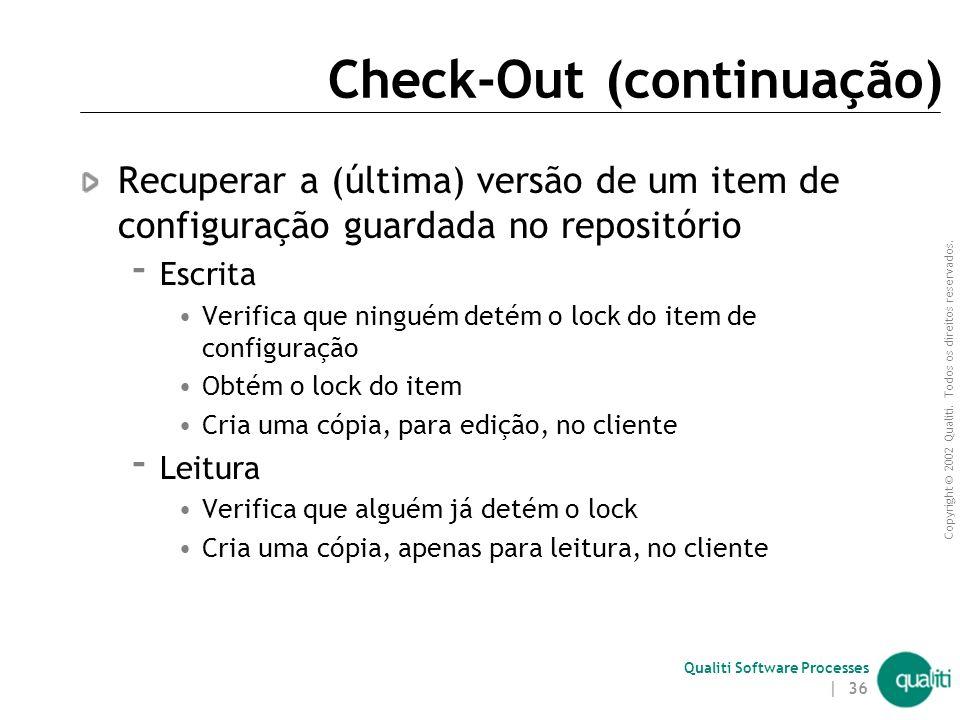 Copyright © 2002 Qualiti. Todos os direitos reservados. Qualiti Software Processes | 35 Check-Out Check-out Repositóriocliente