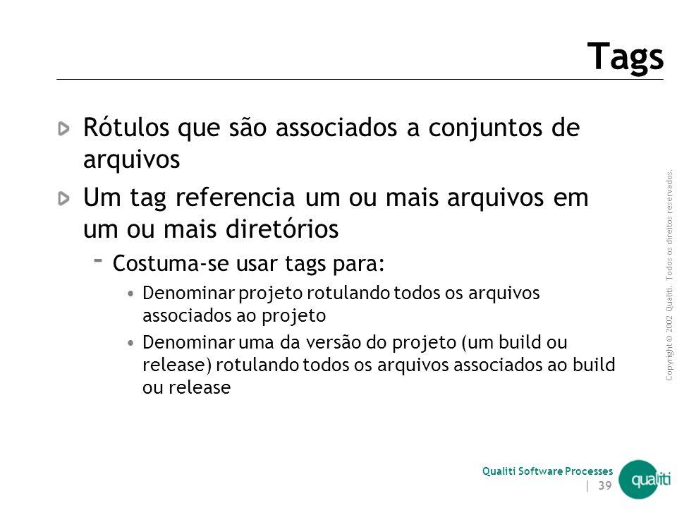 Copyright © 2002 Qualiti. Todos os direitos reservados. Qualiti Software Processes | 38 Check-In (continuação) Ação de inserir/atualizar um item de co