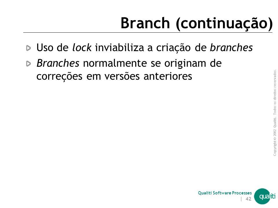 Copyright © 2002 Qualiti. Todos os direitos reservados. Qualiti Software Processes | 41 Branch Criação de um fluxo alternativo para atualização de ver
