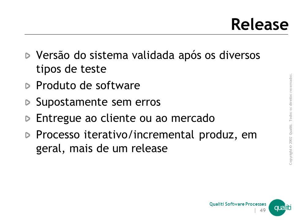 Copyright © 2002 Qualiti. Todos os direitos reservados. Qualiti Software Processes | 48 Mais sobre build Incluem não só código fonte, mas documentação