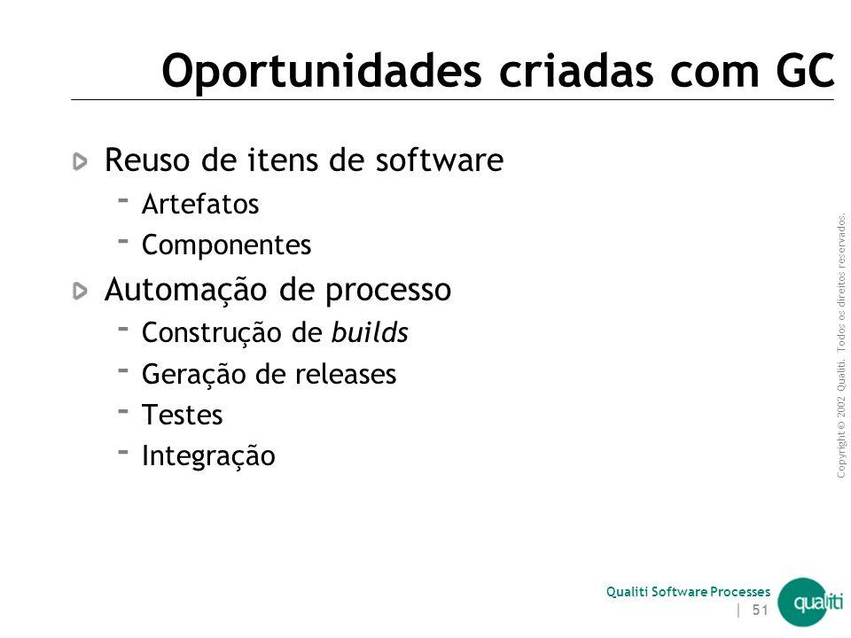 Copyright © 2002 Qualiti. Todos os direitos reservados. Qualiti Software Processes | 50 Mais sobre release Implantado no cliente Deve ser devidamente
