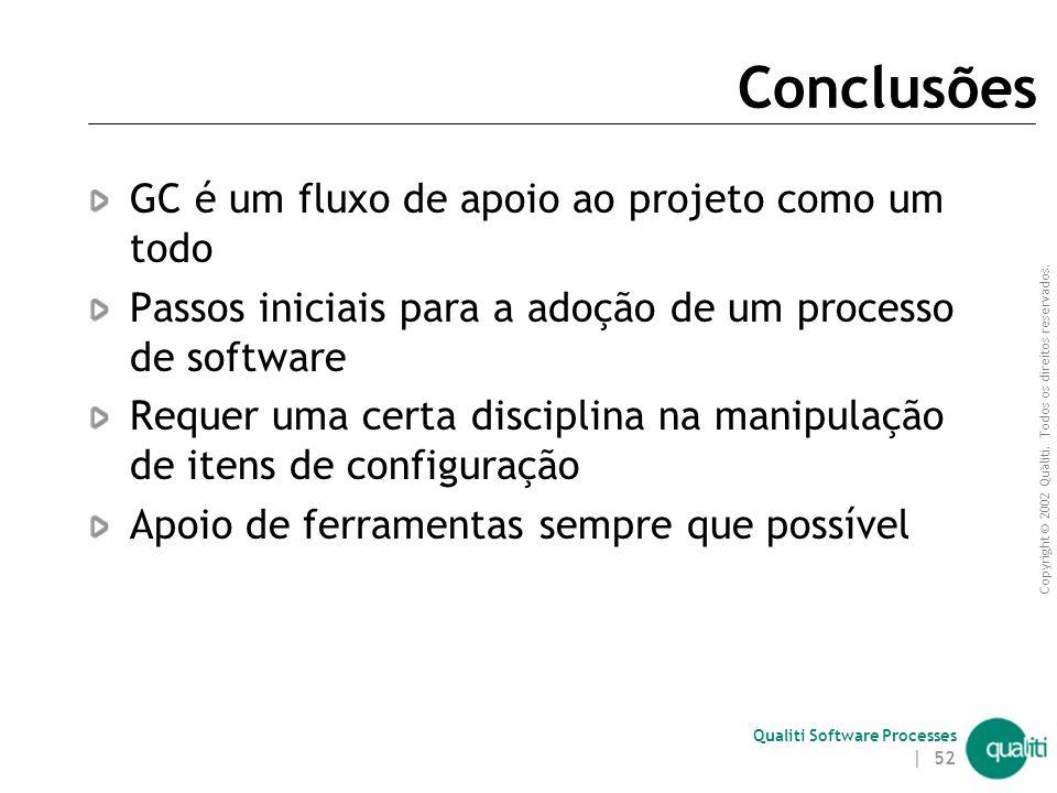 Copyright © 2002 Qualiti. Todos os direitos reservados. Qualiti Software Processes | 51 Oportunidades criadas com GC Reuso de itens de software  Arte