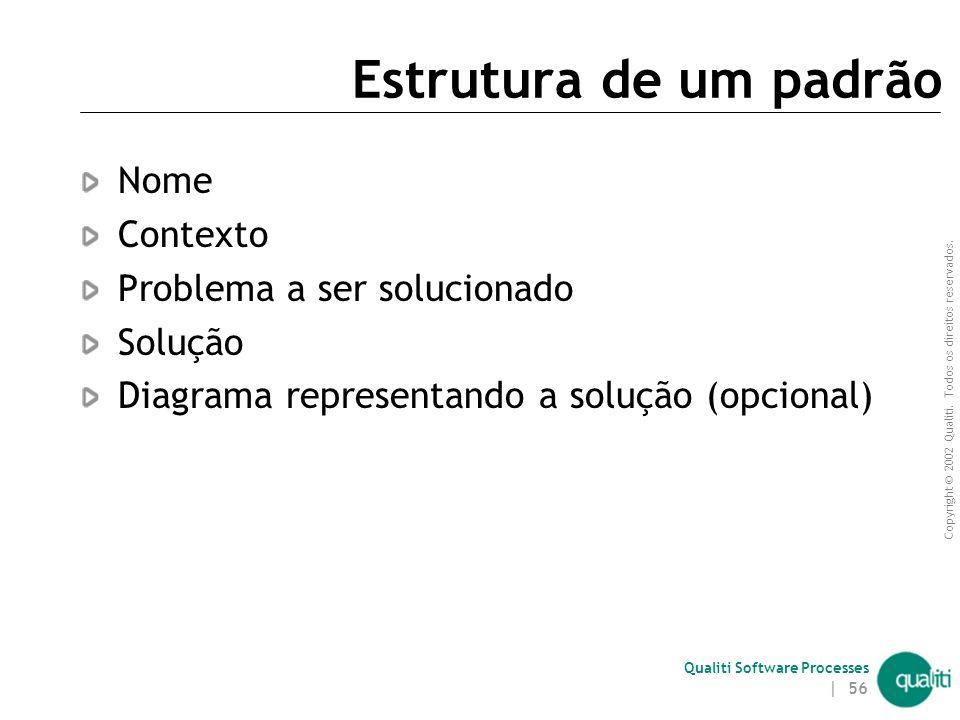 Copyright © 2002 Qualiti. Todos os direitos reservados. Qualiti Software Processes | 55 O que são padrões? Padrões são formas de representação de conh