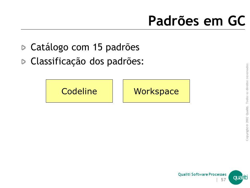 Copyright © 2002 Qualiti. Todos os direitos reservados. Qualiti Software Processes | 56 Estrutura de um padrão Nome Contexto Problema a ser solucionad
