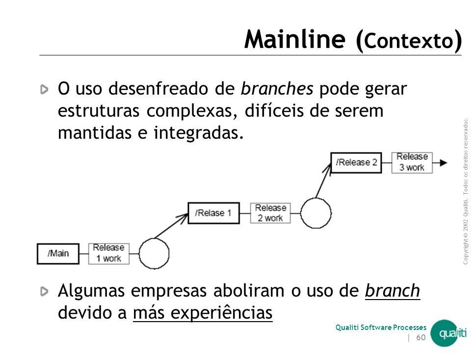 Copyright © 2002 Qualiti. Todos os direitos reservados. Qualiti Software Processes | 59 Mainline ( Contexto ) A utilização de Branches é uma ótima man