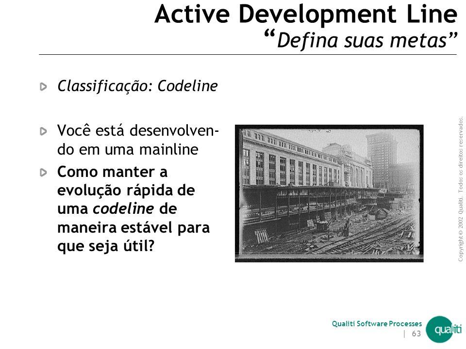 Copyright © 2002 Qualiti. Todos os direitos reservados. Qualiti Software Processes | 62 Mainline ( Criação/Manutenção ) 1. Crie uma codeline a partir