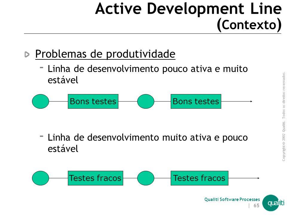 Copyright © 2002 Qualiti. Todos os direitos reservados. Qualiti Software Processes | 64 Active Development Line ( Contexto ) A mainline é um ponto de