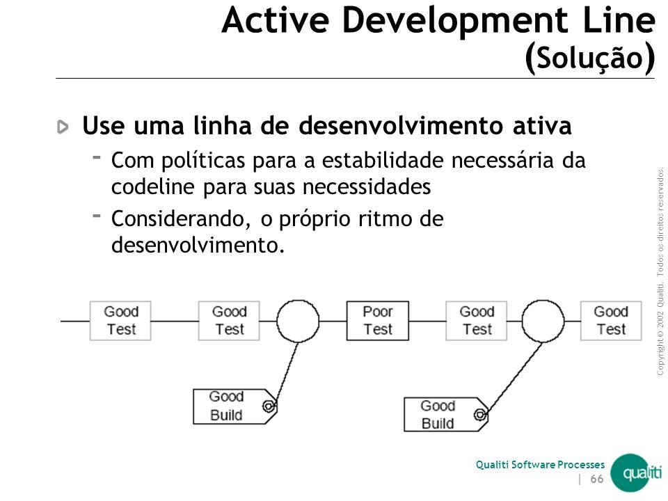 Copyright © 2002 Qualiti. Todos os direitos reservados. Qualiti Software Processes | 65 Active Development Line ( Contexto ) Problemas de produtividad