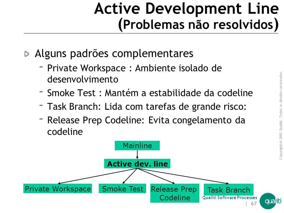 Copyright © 2002 Qualiti. Todos os direitos reservados. Qualiti Software Processes | 66 Active Development Line ( Solução ) Use uma linha de desenvolv