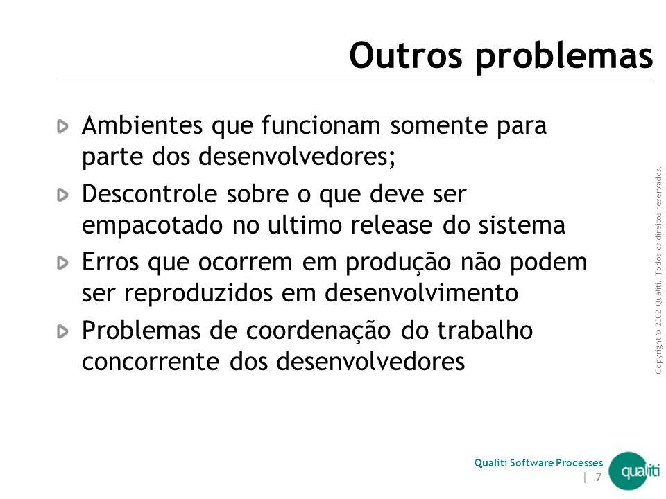 Copyright © 2002 Qualiti. Todos os direitos reservados. Qualiti Software Processes | 6 Motivação Problemas na manutenção de software:  bugs previamen