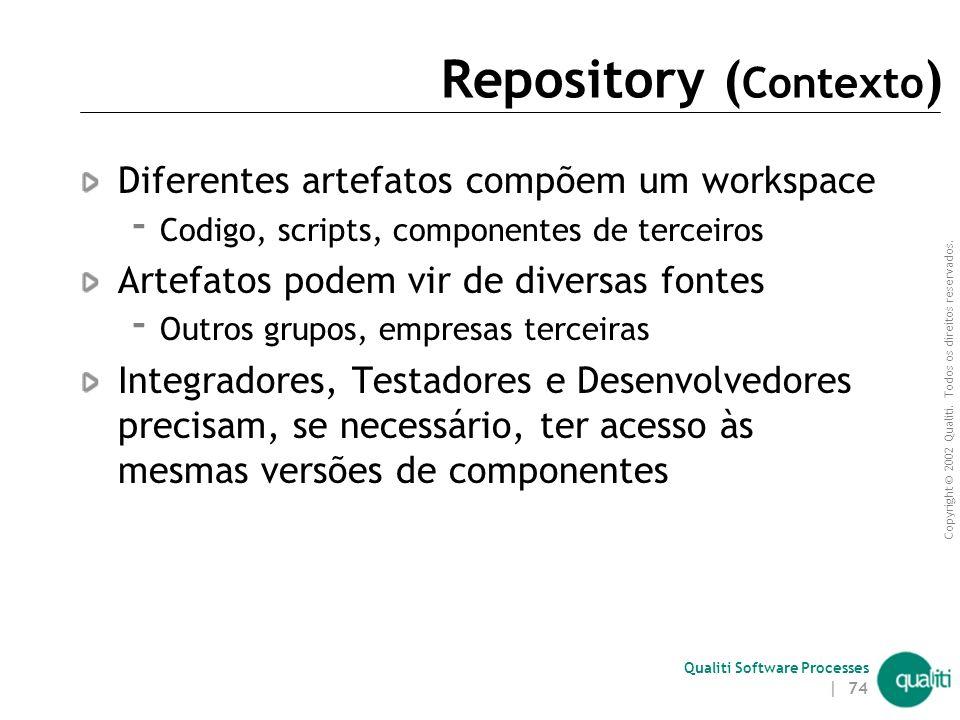 Copyright © 2002 Qualiti. Todos os direitos reservados. Qualiti Software Processes | 73 RepositoryUm único lugar para compras Classificação: Workspace