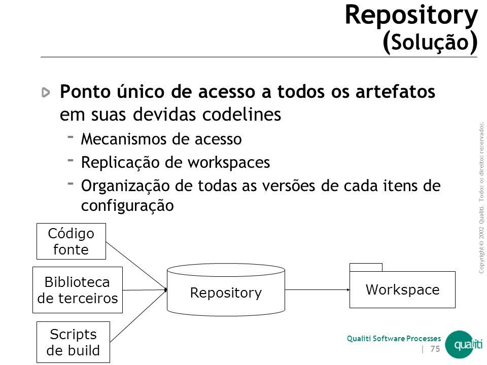 Copyright © 2002 Qualiti. Todos os direitos reservados. Qualiti Software Processes | 74 Repository ( Contexto ) Diferentes artefatos compõem um worksp