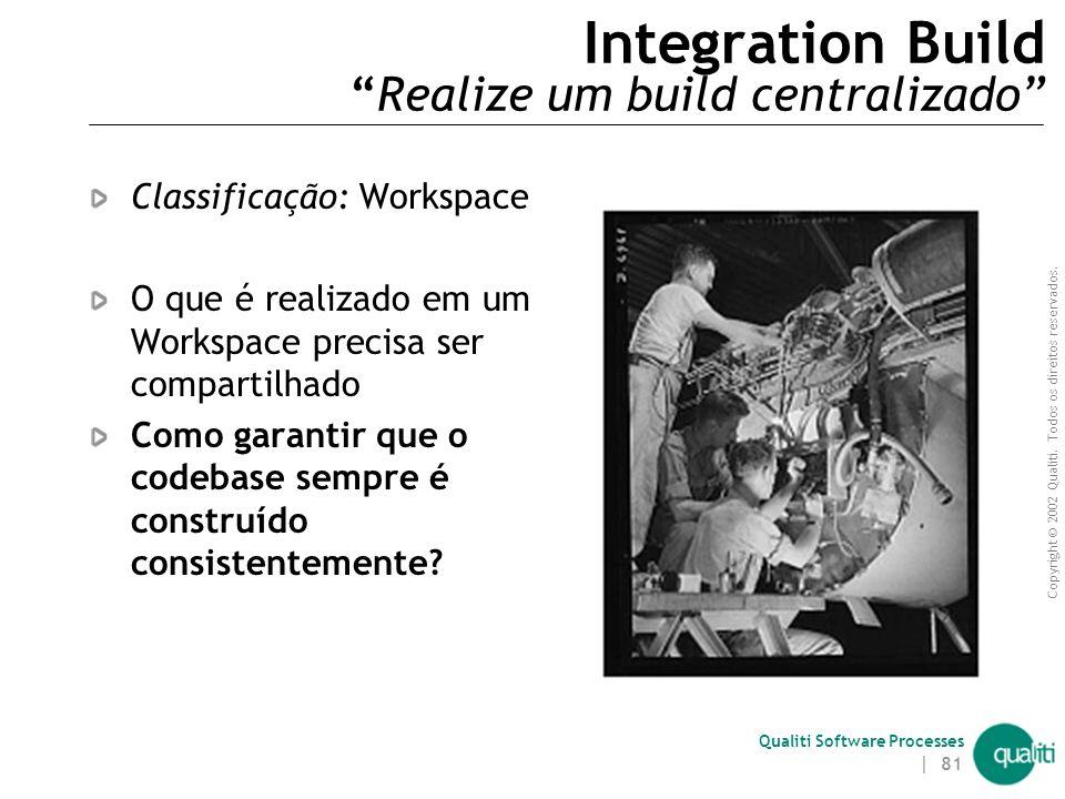 Copyright © 2002 Qualiti. Todos os direitos reservados. Qualiti Software Processes | 80 Private System Build ( Problemas não resolvidos ) Se a constru