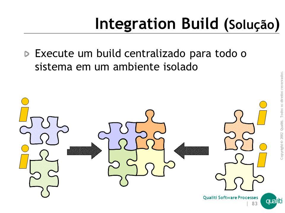 Copyright © 2002 Qualiti. Todos os direitos reservados. Qualiti Software Processes | 82 Integration Build ( Contexto ) Trabalhos individuais devem ser
