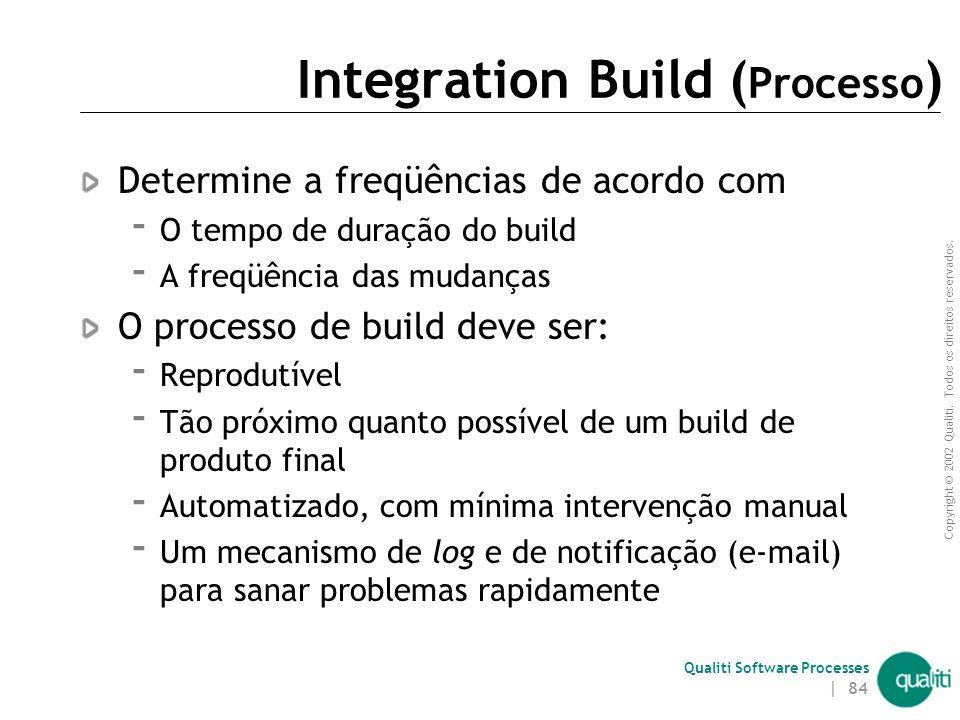 Copyright © 2002 Qualiti. Todos os direitos reservados. Qualiti Software Processes | 83 Integration Build ( Solução ) Execute um build centralizado pa