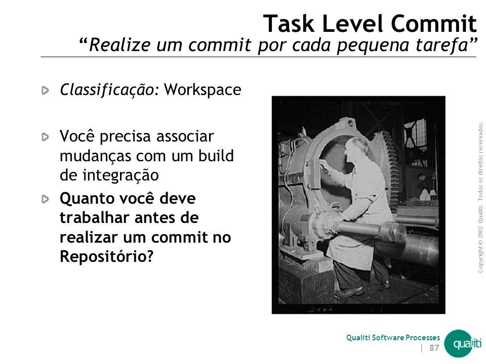 Copyright © 2002 Qualiti. Todos os direitos reservados. Qualiti Software Processes | 86 Integration Build ( Problemas não resolvidos ) Alguns padrões