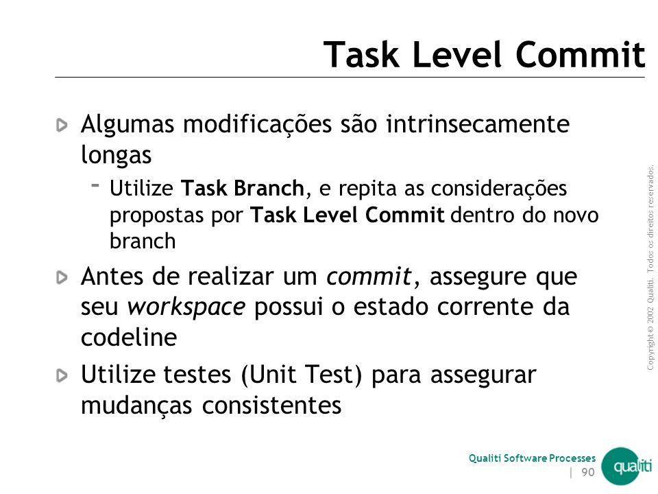 Copyright © 2002 Qualiti. Todos os direitos reservados. Qualiti Software Processes | 89 Task Level Commit ( Solução ) Efetue um commit por tarefa cons