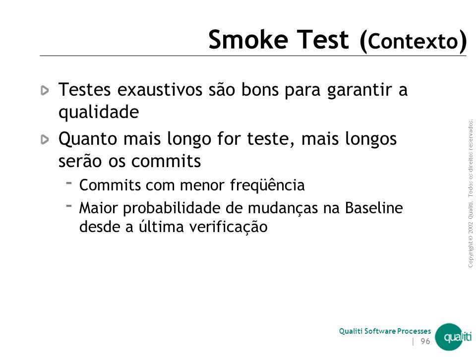 Copyright © 2002 Qualiti. Todos os direitos reservados. Qualiti Software Processes | 95 Smoke TestVerifique funcionalidades básicas Classificação: Wor