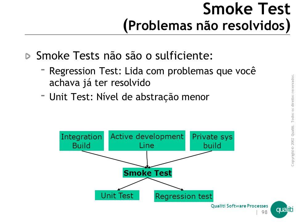 Copyright © 2002 Qualiti. Todos os direitos reservados. Qualiti Software Processes | 97 Smoke Test ( Solução ) Condicione cada build a um teste de fum