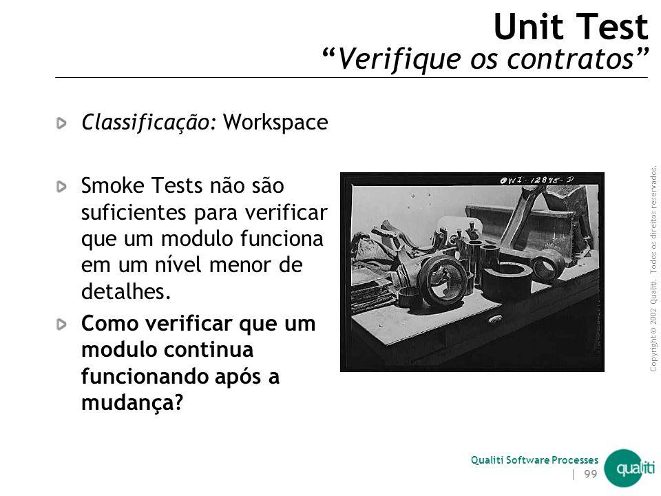 Copyright © 2002 Qualiti. Todos os direitos reservados. Qualiti Software Processes | 98 Smoke Test ( Problemas não resolvidos ) Smoke Tests não são o